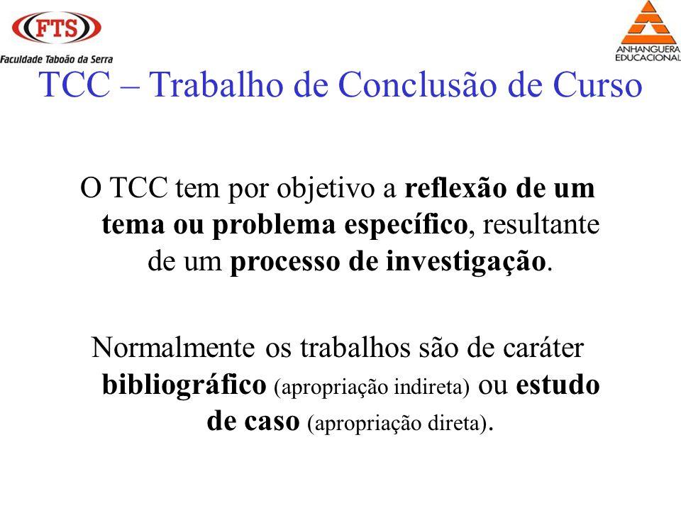 TCC – Trabalho de Conclusão de Curso O TCC tem por objetivo a reflexão de um tema ou problema específico, resultante de um processo de investigação.
