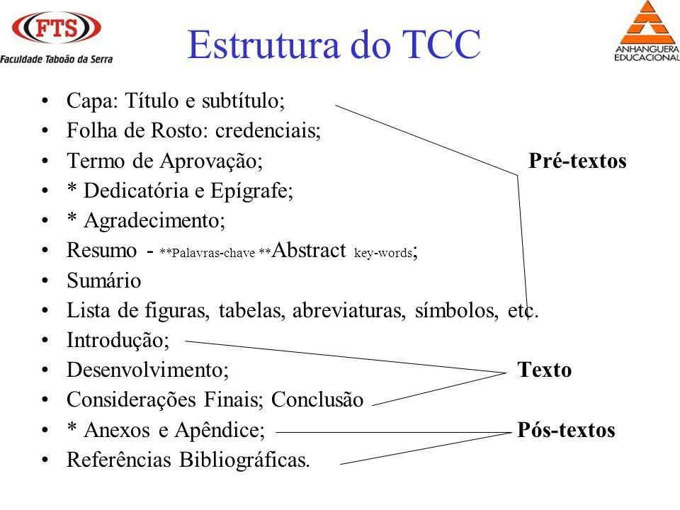 Estrutura do TCC Capa: Título e subtítulo; Folha de Rosto: credenciais; Termo de Aprovação; Pré-textos * Dedicatória e Epígrafe; * Agradecimento; Resumo - **Palavras-chave ** Abstract key-words ; Sumário Lista de figuras, tabelas, abreviaturas, símbolos, etc.