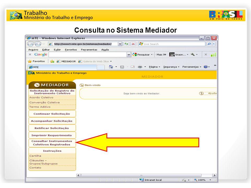 Consulta no Sistema Mediador