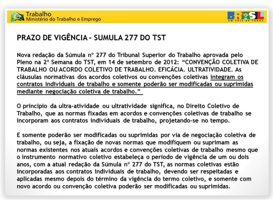 PRAZO DE VIGÊNCIA - SUMULA 277 DO TST Nova redação da Súmula nº 277 do Tribunal Superior do Trabalho aprovada pelo Pleno na 2ª Semana do TST, em 14 de setembro de 2012: CONVENÇÃO COLETIVA DE TRABALHO OU ACORDO COLETIVO DE TRABALHO.