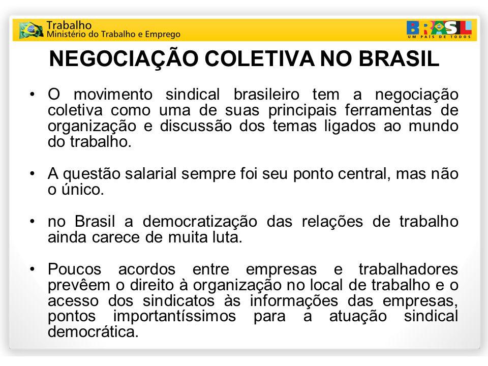 NEGOCIAÇÃO COLETIVA NO BRASIL O movimento sindical brasileiro tem a negociação coletiva como uma de suas principais ferramentas de organização e discussão dos temas ligados ao mundo do trabalho.