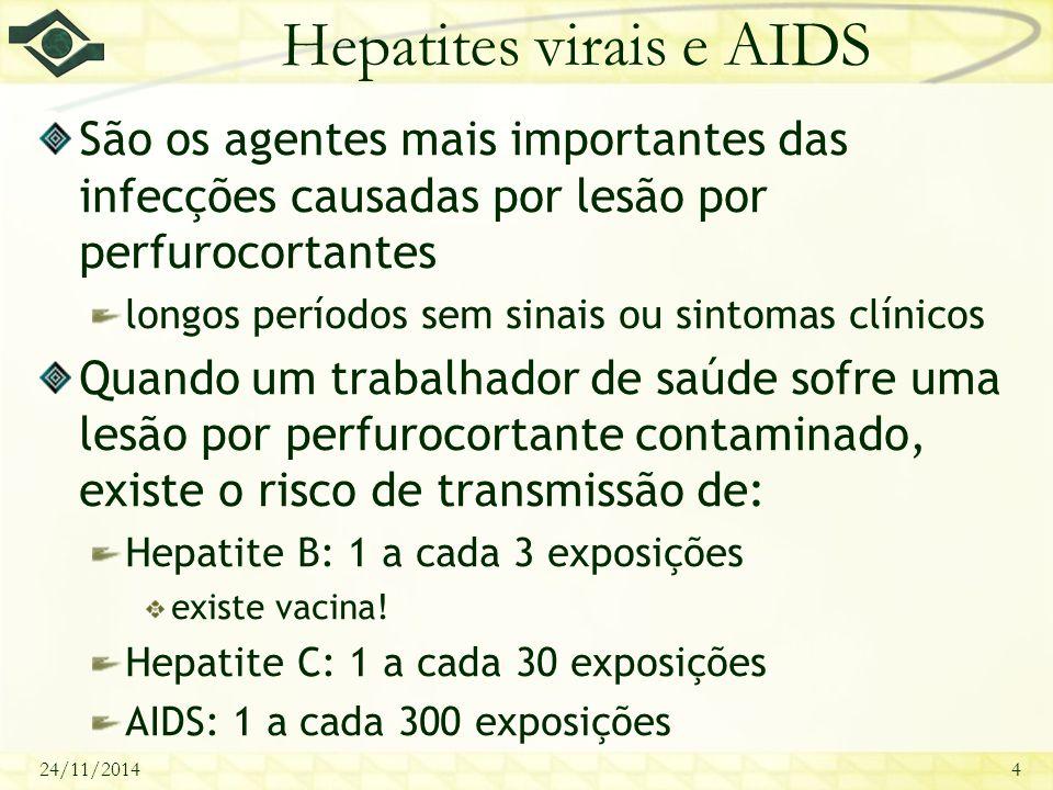 24/11/20144 Hepatites virais e AIDS São os agentes mais importantes das infecções causadas por lesão por perfurocortantes longos períodos sem sinais o