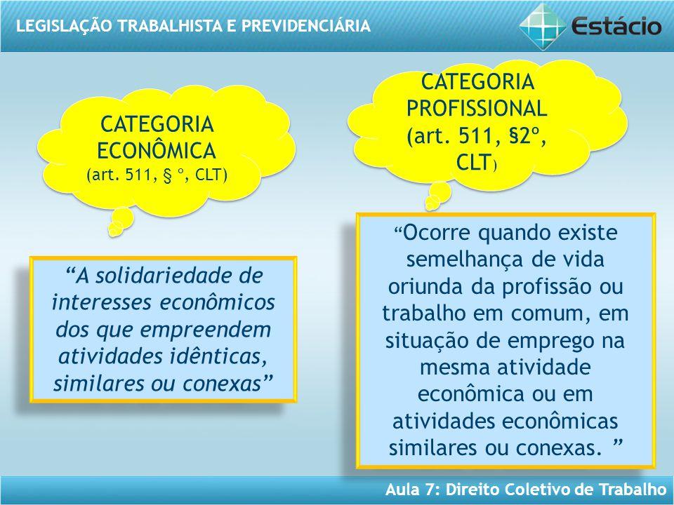 LEGISLAÇÃO TRABALHISTA E PREVIDENCIÁRIA Aula 7: Direito Coletivo de Trabalho CATEGORIA PROFISSIONAL (art. 511, §2º, CLT ) CATEGORIA PROFISSIONAL (art.