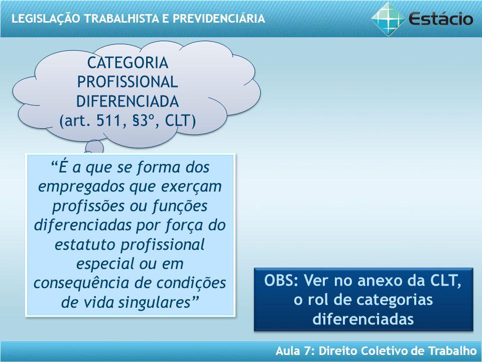 LEGISLAÇÃO TRABALHISTA E PREVIDENCIÁRIA Aula 7: Direito Coletivo de Trabalho CATEGORIA PROFISSIONAL DIFERENCIADA (art. 511, §3º, CLT) CATEGORIA PROFIS