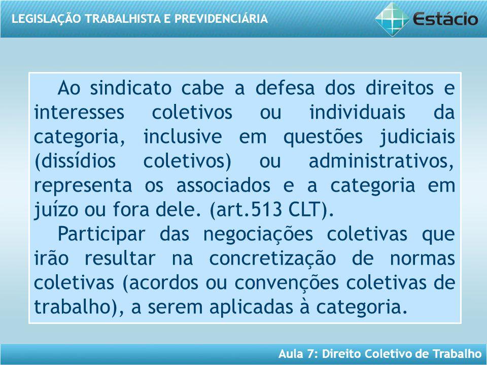 LEGISLAÇÃO TRABALHISTA E PREVIDENCIÁRIA Aula 7: Direito Coletivo de Trabalho Ao sindicato cabe a defesa dos direitos e interesses coletivos ou individ