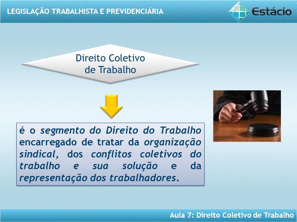 LEGISLAÇÃO TRABALHISTA E PREVIDENCIÁRIA Aula 7: Direito Coletivo de Trabalho é o segmento do Direito do Trabalho encarregado de tratar da organização
