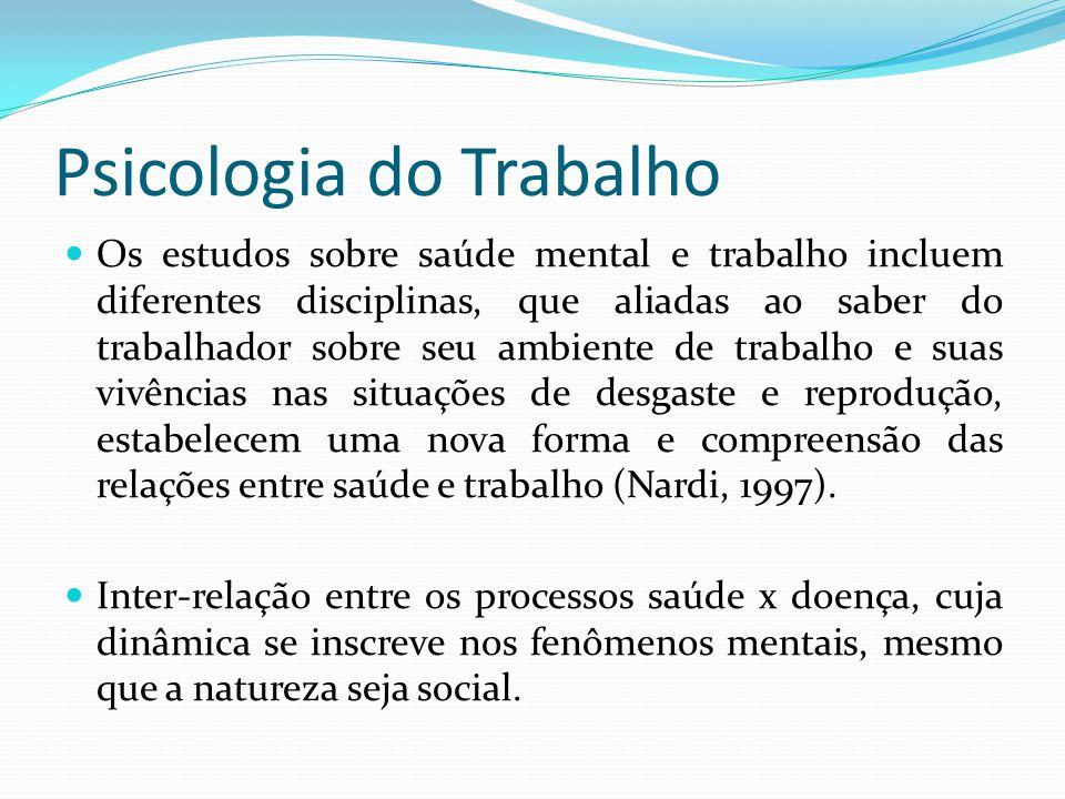 Psicologia do Trabalho Os estudos sobre saúde mental e trabalho incluem diferentes disciplinas, que aliadas ao saber do trabalhador sobre seu ambiente