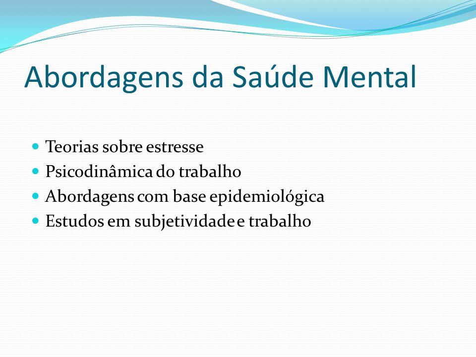 Abordagens da Saúde Mental Teorias sobre estresse Psicodinâmica do trabalho Abordagens com base epidemiológica Estudos em subjetividade e trabalho