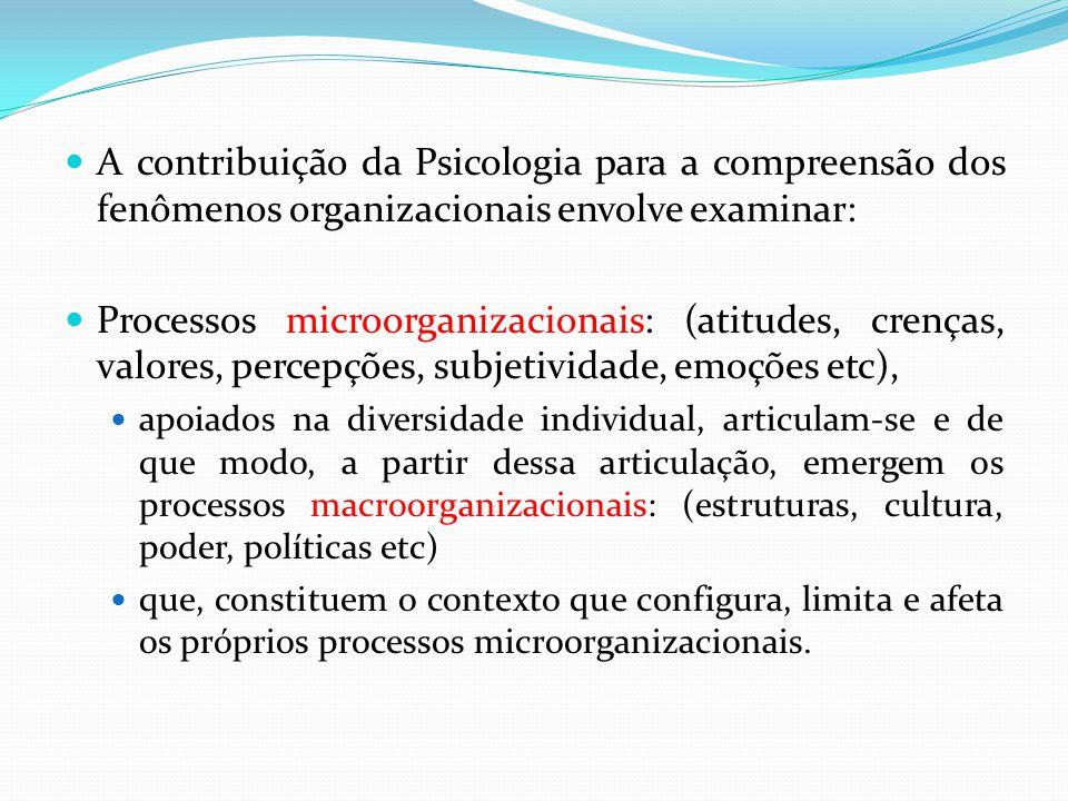 A contribuição da Psicologia para a compreensão dos fenômenos organizacionais envolve examinar: Processos microorganizacionais: (atitudes, crenças, valores, percepções, subjetividade, emoções etc), apoiados na diversidade individual, articulam-se e de que modo, a partir dessa articulação, emergem os processos macroorganizacionais: (estruturas, cultura, poder, políticas etc) que, constituem o contexto que configura, limita e afeta os próprios processos microorganizacionais.