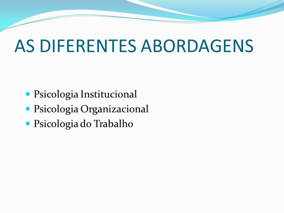 AS DIFERENTES ABORDAGENS Psicologia Institucional Psicologia Organizacional Psicologia do Trabalho