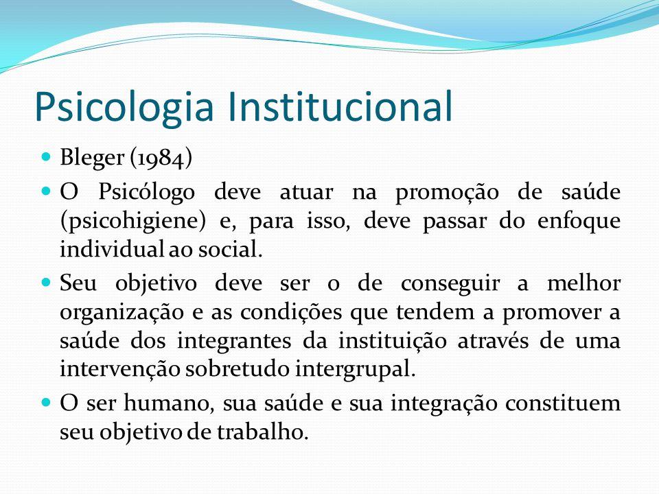Psicologia Institucional Bleger (1984) O Psicólogo deve atuar na promoção de saúde (psicohigiene) e, para isso, deve passar do enfoque individual ao social.