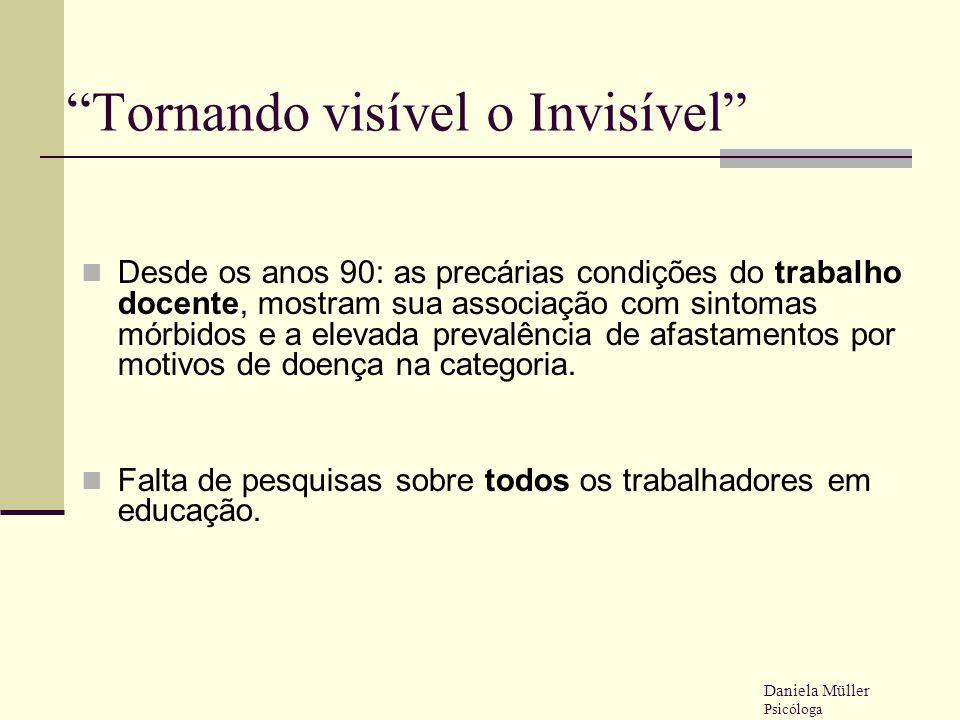 """""""Tornando visível o Invisível"""" Desde os anos 90: as precárias condições do trabalho docente, mostram sua associação com sintomas mórbidos e a elevada"""