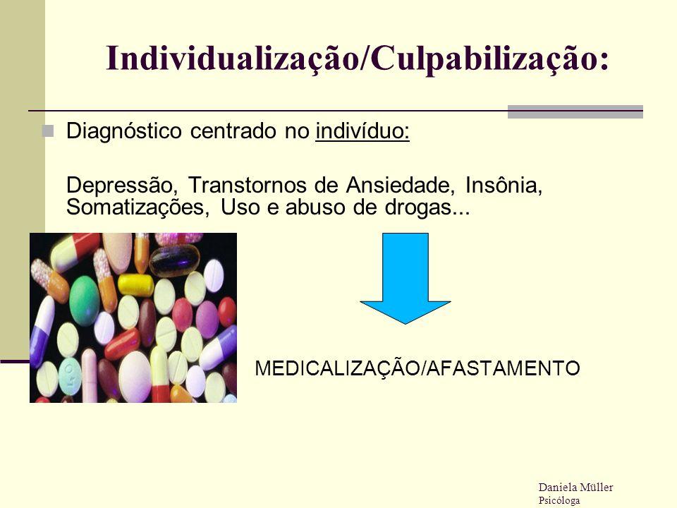 Individualização/Culpabilização: Diagnóstico centrado no indivíduo: Depressão, Transtornos de Ansiedade, Insônia, Somatizações, Uso e abuso de drogas.