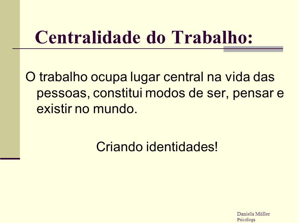 Centralidade do Trabalho: O trabalho ocupa lugar central na vida das pessoas, constitui modos de ser, pensar e existir no mundo. Criando identidades!