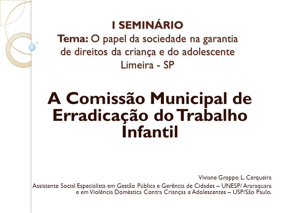 I SEMINÁRIO Tema: O papel da sociedade na garantia de direitos da criança e do adolescente Limeira - SP A Comissão Municipal de Erradicação do Trabalho Infantil Viviane Groppo L.