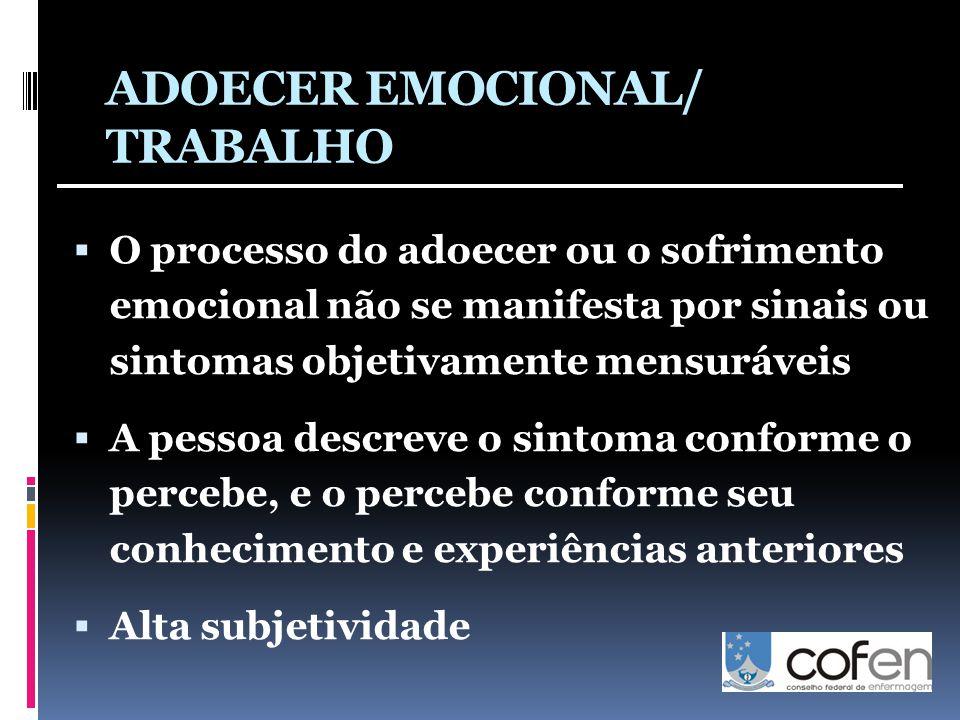 ADOECER EMOCIONAL/ TRABALHO  O processo do adoecer ou o sofrimento emocional não se manifesta por sinais ou sintomas objetivamente mensuráveis  A pessoa descreve o sintoma conforme o percebe, e o percebe conforme seu conhecimento e experiências anteriores  Alta subjetividade