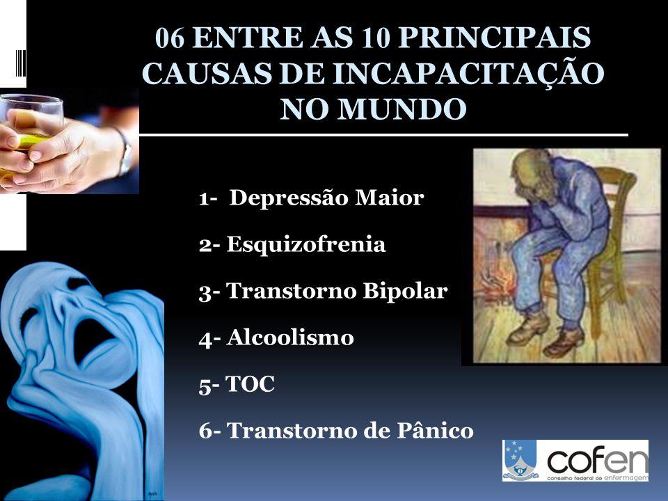 06 ENTRE AS 10 PRINCIPAIS CAUSAS DE INCAPACITAÇÃO NO MUNDO 1- Depressão Maior 2- Esquizofrenia 3- Transtorno Bipolar 4- Alcoolismo 5- TOC 6- Transtorn