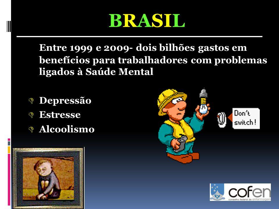 Entre 1999 e 2009- dois bilhões gastos em benefícios para trabalhadores com problemas ligados à Saúde Mental  Depressão  Estresse  Alcoolismo BRASI