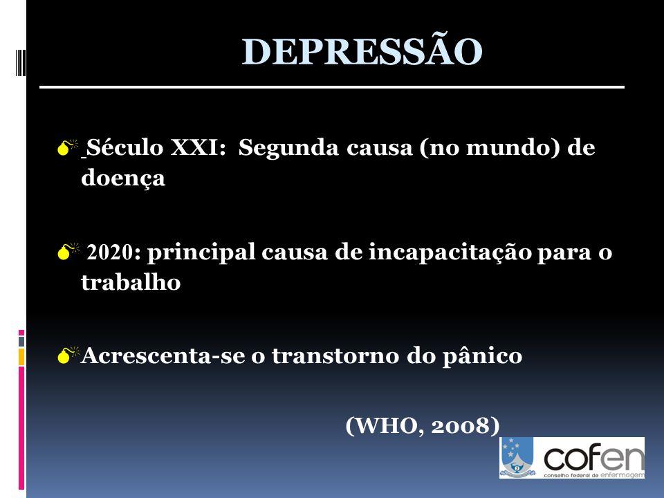  Século XXI: Segunda causa (no mundo) de doença  2020 : principal causa de incapacitação para o trabalho  Acrescenta-se o transtorno do pânico (WHO, 2008) DEPRESSÃO