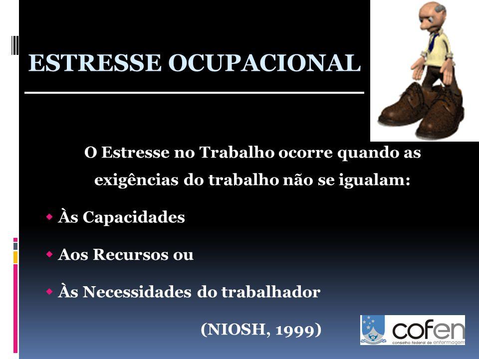 O Estresse no Trabalho ocorre quando as exigências do trabalho não se igualam:  Às Capacidades  Aos Recursos ou  Às Necessidades do trabalhador (NIOSH, 1999) ESTRESSE OCUPACIONAL