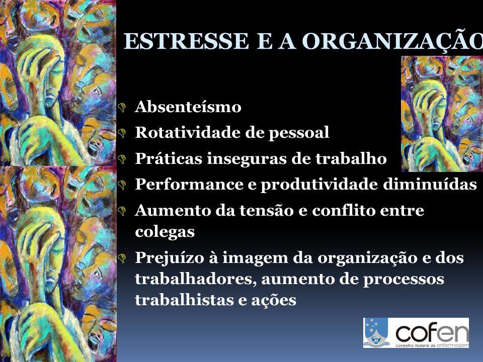 ESTRESSE E A ORGANIZAÇÃO  Absenteísmo  Rotatividade de pessoal  Práticas inseguras de trabalho  Performance e produtividade diminuídas  Aumento d