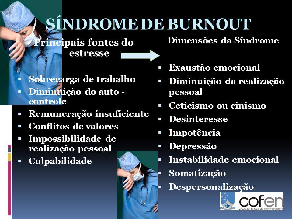 SÍNDROME DE BURNOUT Principais fontes do estresse  Sobrecarga de trabalho  Diminuição do auto - controle  Remuneração insuficiente  Conflitos de v