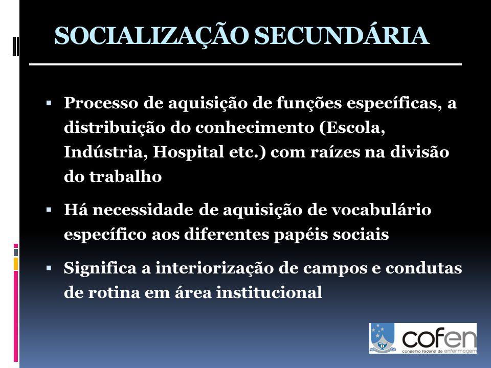 SOCIALIZAÇÃO SECUNDÁRIA  Processo de aquisição de funções específicas, a distribuição do conhecimento (Escola, Indústria, Hospital etc.) com raízes n