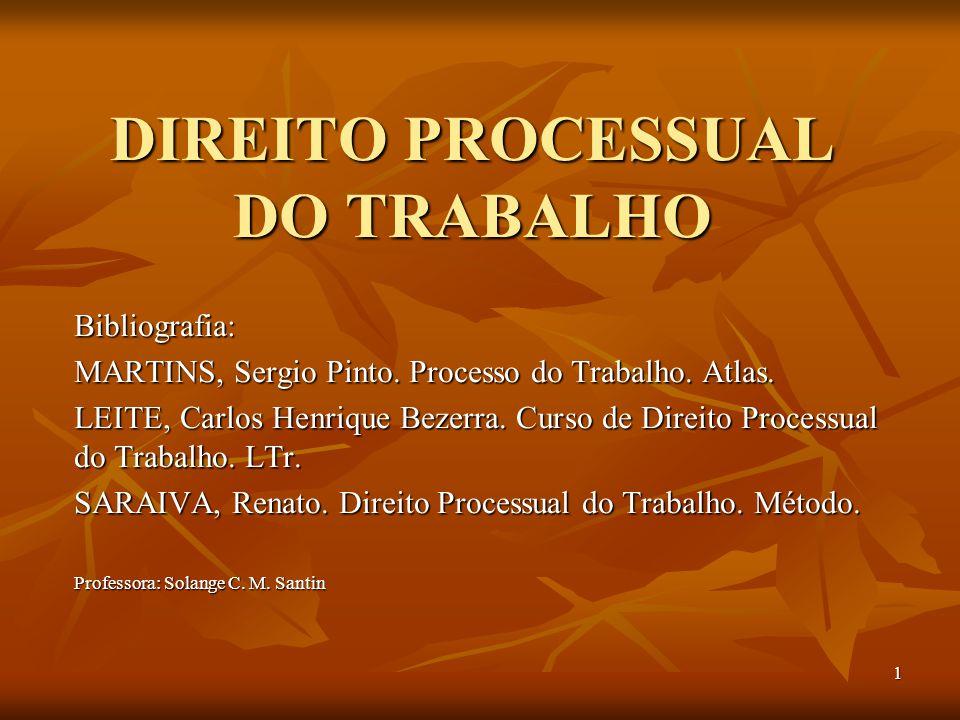 1 DIREITO PROCESSUAL DO TRABALHO Bibliografia: MARTINS, Sergio Pinto. Processo do Trabalho. Atlas. LEITE, Carlos Henrique Bezerra. Curso de Direito Pr