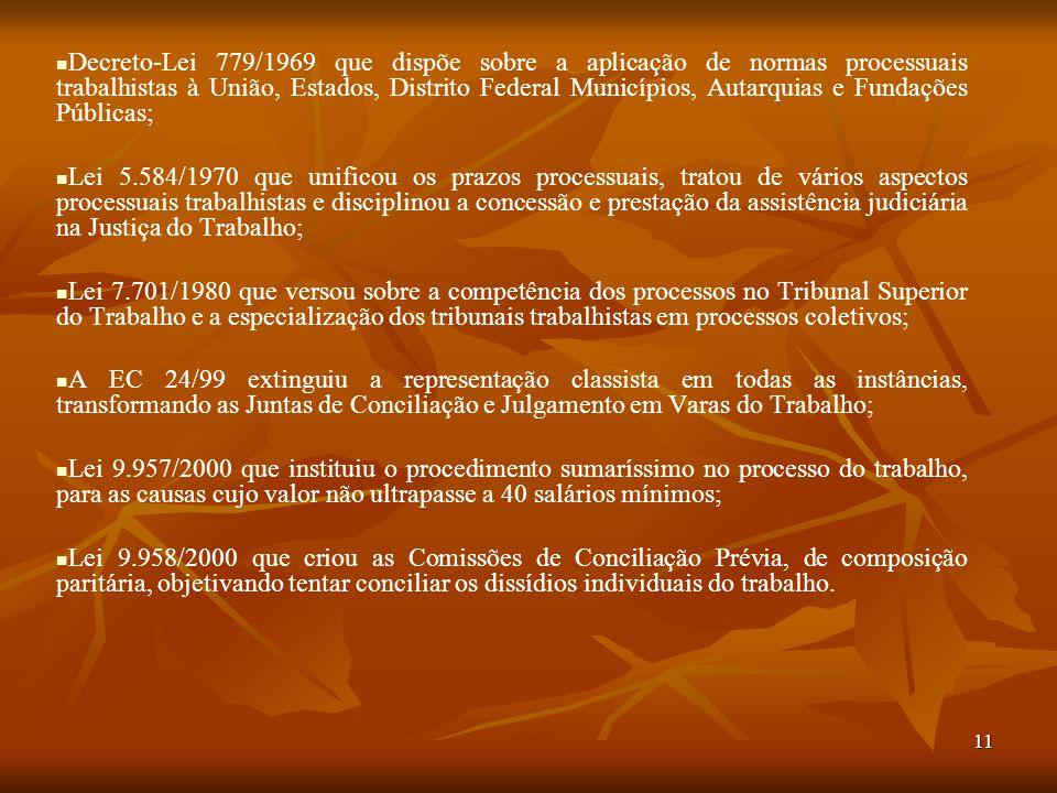 11 Decreto-Lei 779/1969 que dispõe sobre a aplicação de normas processuais trabalhistas à União, Estados, Distrito Federal Municípios, Autarquias e Fu