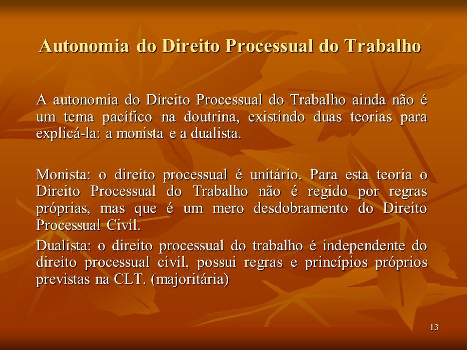 13 Autonomia do Direito Processual do Trabalho A autonomia do Direito Processual do Trabalho ainda não é um tema pacífico na doutrina, existindo duas