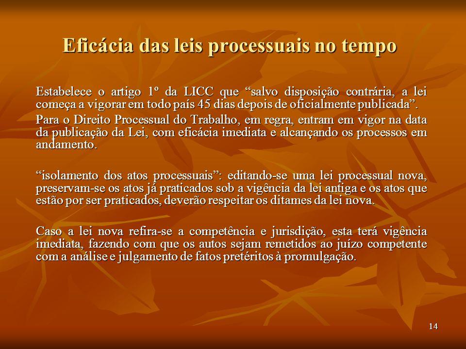"""14 Eficácia das leis processuais no tempo Estabelece o artigo 1º da LICC que """"salvo disposição contrária, a lei começa a vigorar em todo país 45 dias"""
