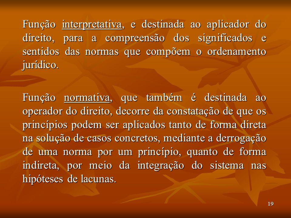 19 Função interpretativa, e destinada ao aplicador do direito, para a compreensão dos significados e sentidos das normas que compõem o ordenamento jur