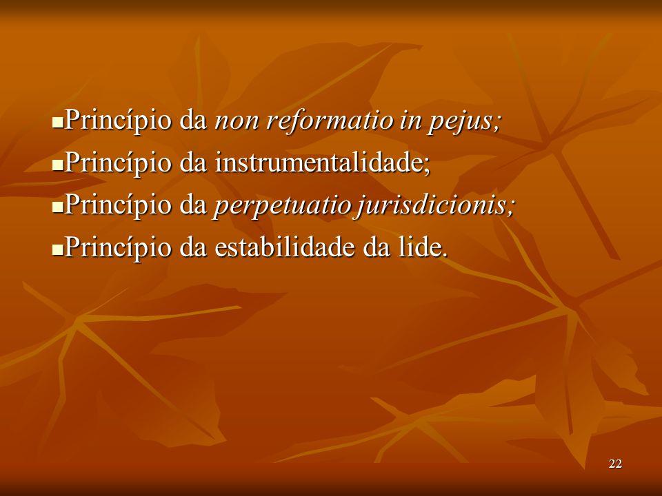 22 Princípio da non reformatio in pejus; Princípio da non reformatio in pejus; Princípio da instrumentalidade; Princípio da instrumentalidade; Princíp