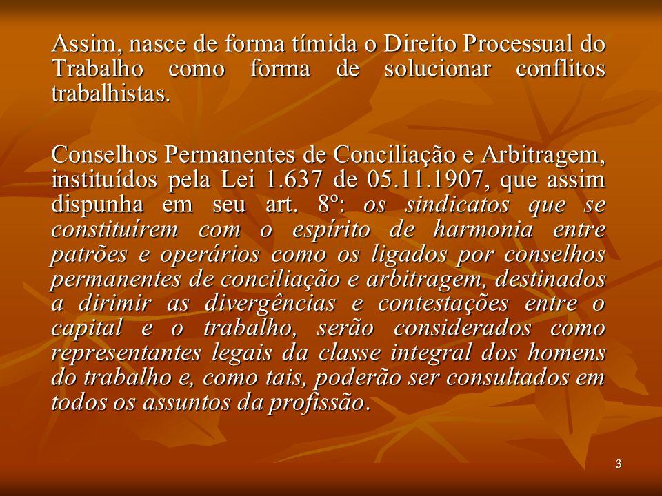 3 Assim, nasce de forma tímida o Direito Processual do Trabalho como forma de solucionar conflitos trabalhistas. Conselhos Permanentes de Conciliação