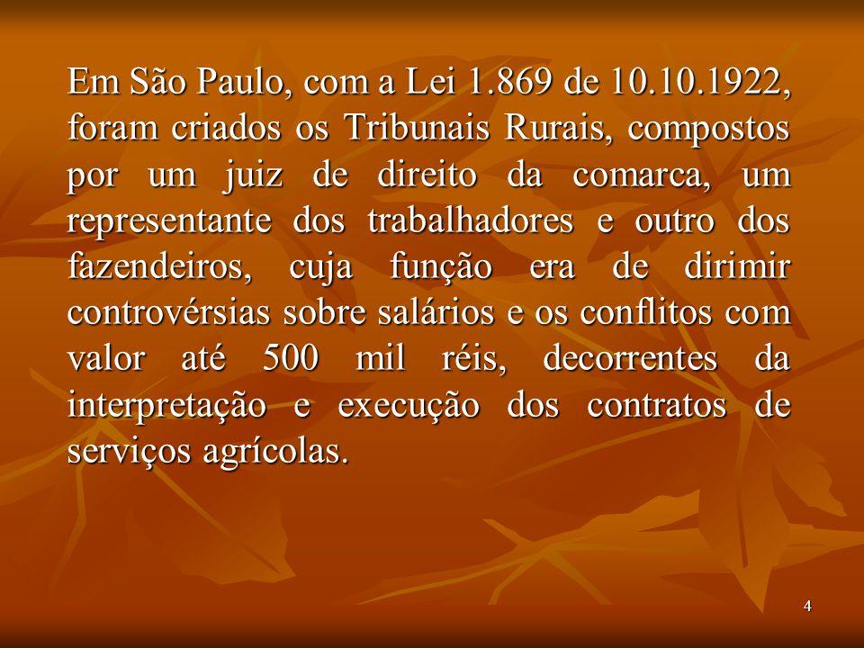 4 Em São Paulo, com a Lei 1.869 de 10.10.1922, foram criados os Tribunais Rurais, compostos por um juiz de direito da comarca, um representante dos tr