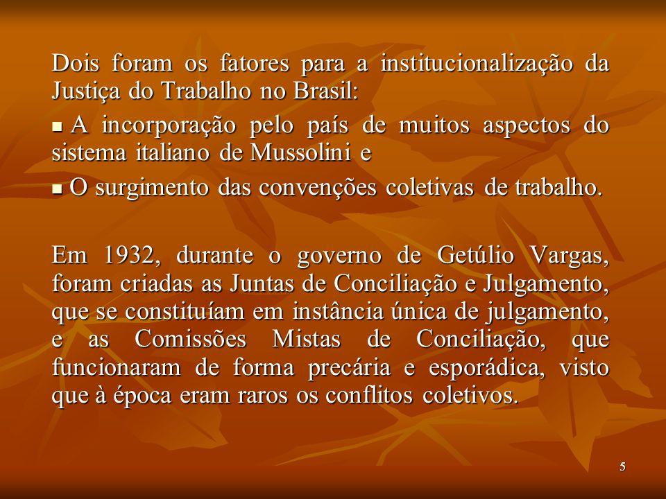 5 Dois foram os fatores para a institucionalização da Justiça do Trabalho no Brasil: A incorporação pelo país de muitos aspectos do sistema italiano d
