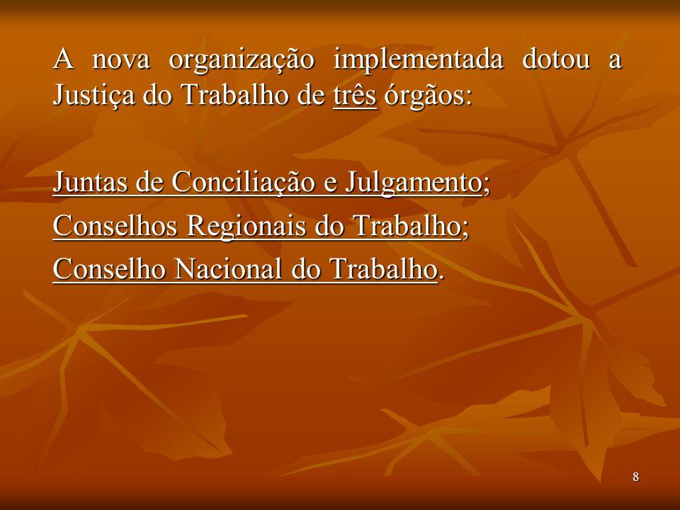 8 A nova organização implementada dotou a Justiça do Trabalho de três órgãos: Juntas de Conciliação e Julgamento; Conselhos Regionais do Trabalho; Con