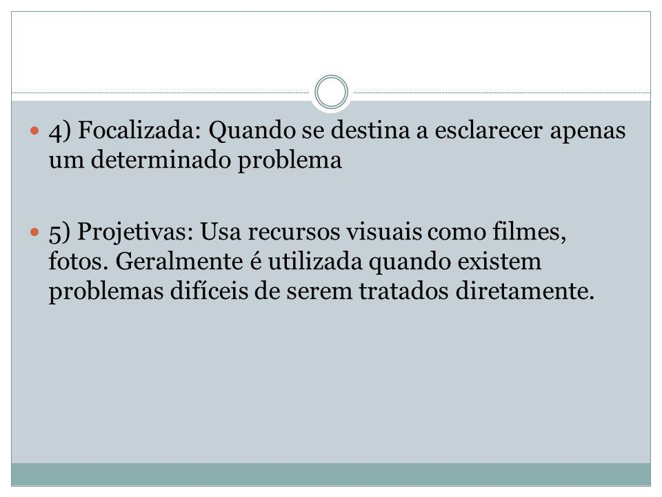 4) Focalizada: Quando se destina a esclarecer apenas um determinado problema 5) Projetivas: Usa recursos visuais como filmes, fotos. Geralmente é util