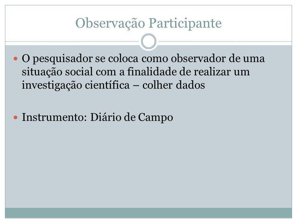 Observação Participante O pesquisador se coloca como observador de uma situação social com a finalidade de realizar um investigação científica – colhe