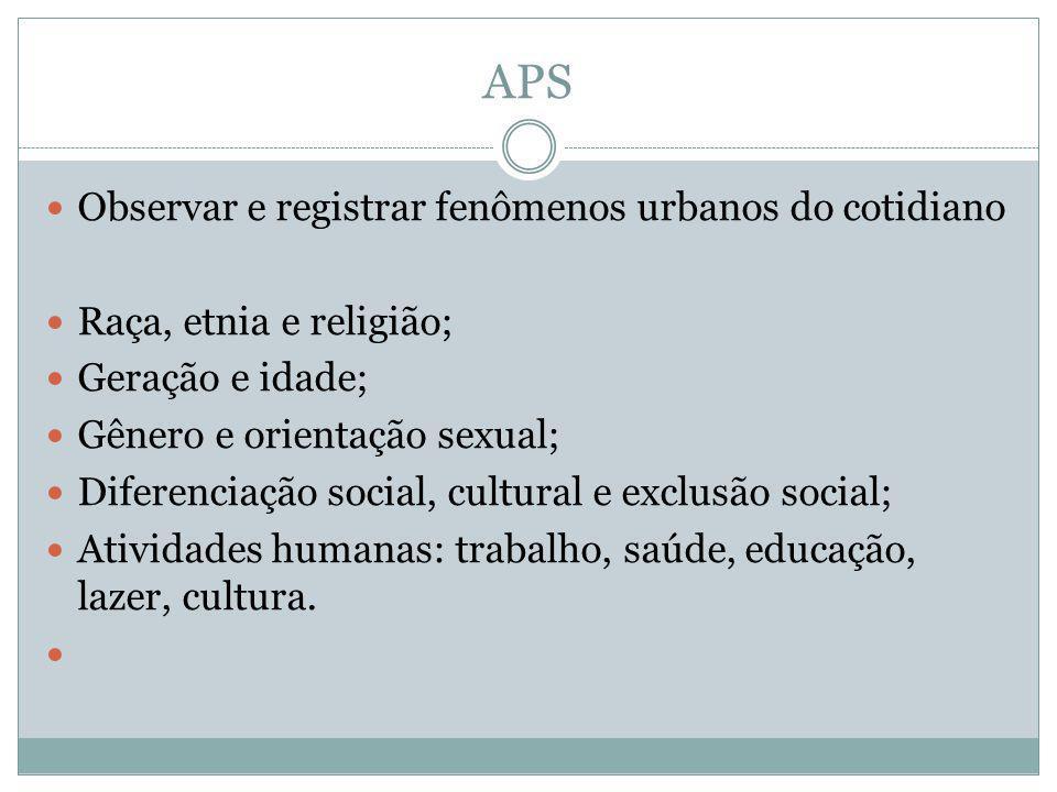 APS Observar e registrar fenômenos urbanos do cotidiano Raça, etnia e religião; Geração e idade; Gênero e orientação sexual; Diferenciação social, cul