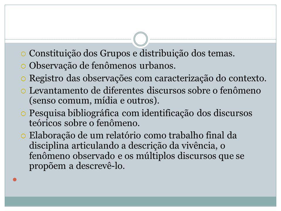  Constituição dos Grupos e distribuição dos temas.  Observação de fenômenos urbanos.  Registro das observações com caracterização do contexto.  Le