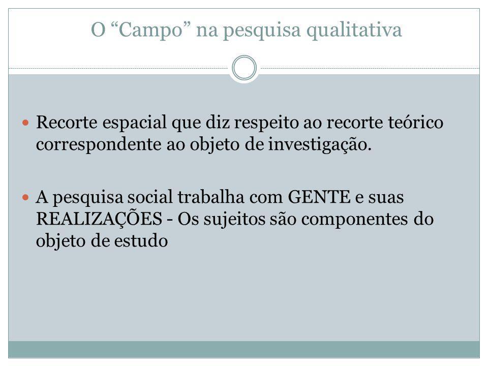 """O """"Campo"""" na pesquisa qualitativa Recorte espacial que diz respeito ao recorte teórico correspondente ao objeto de investigação. A pesquisa social tra"""