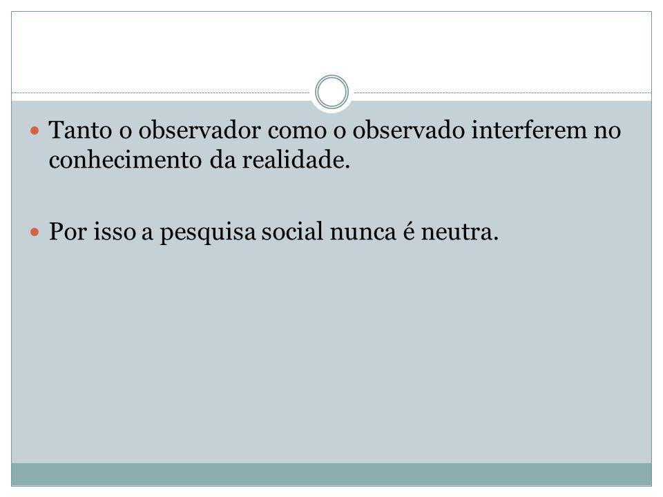Tanto o observador como o observado interferem no conhecimento da realidade. Por isso a pesquisa social nunca é neutra.