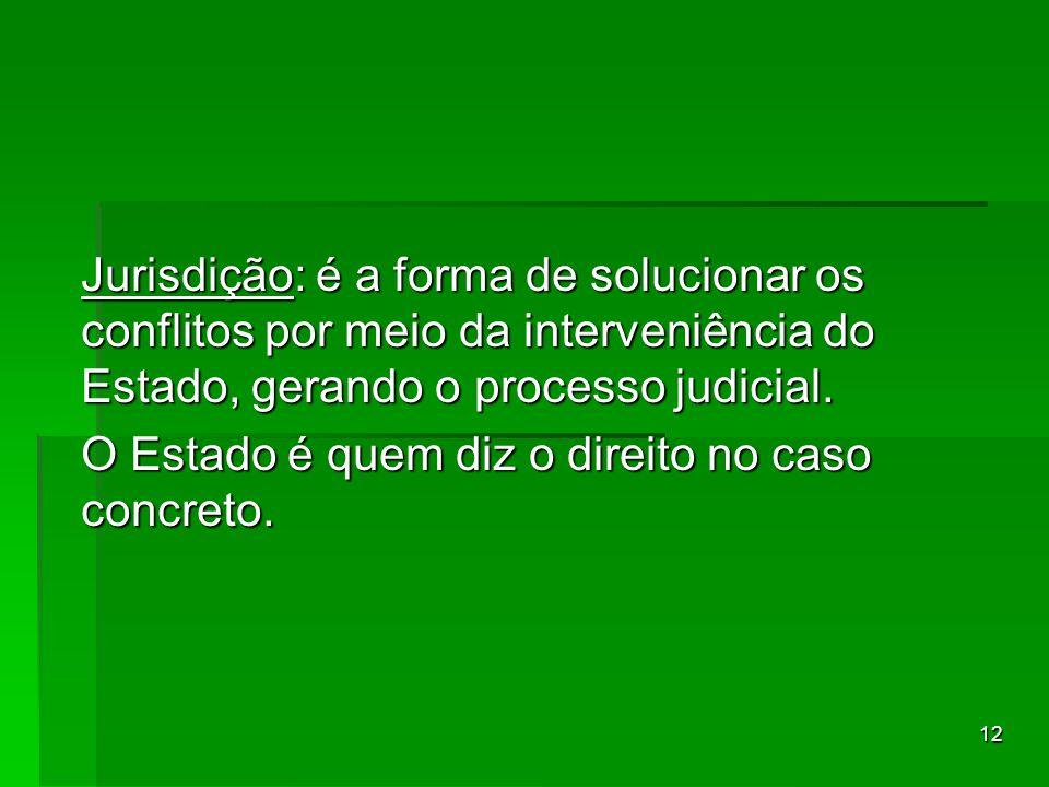 12 Jurisdição: é a forma de solucionar os conflitos por meio da interveniência do Estado, gerando o processo judicial. O Estado é quem diz o direito n