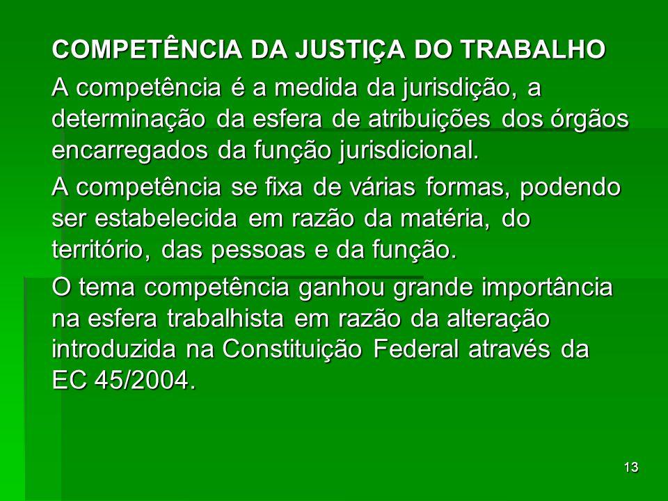 13 COMPETÊNCIA DA JUSTIÇA DO TRABALHO A competência é a medida da jurisdição, a determinação da esfera de atribuições dos órgãos encarregados da funçã