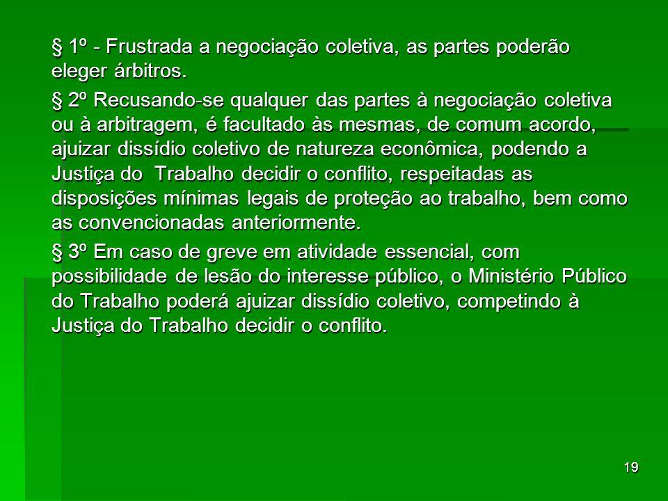 19 § 1º - Frustrada a negociação coletiva, as partes poderão eleger árbitros. § 2º Recusando-se qualquer das partes à negociação coletiva ou à arbitra