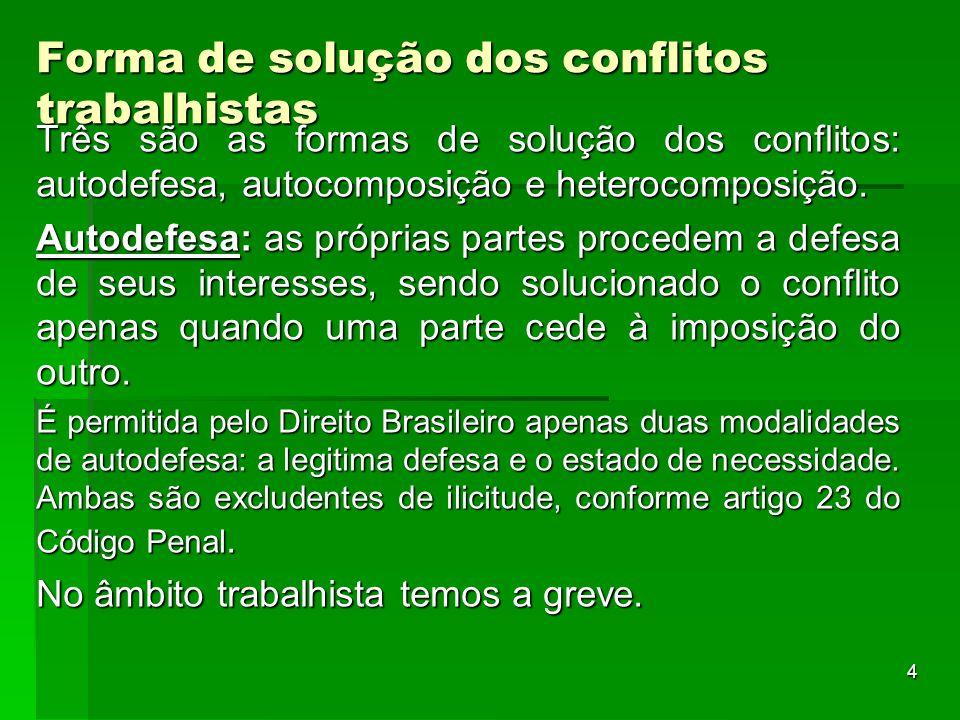 4 Forma de solução dos conflitos trabalhistas Três são as formas de solução dos conflitos: autodefesa, autocomposição e heterocomposição. Autodefesa:
