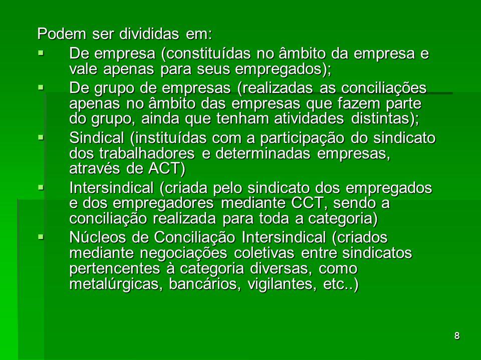 9 As Comissões de Conciliação Prévia possuem composição paritária, conforme dispõe o artigo 625-A da CLT, com no mínimo 2 e no máximo 10 membros.