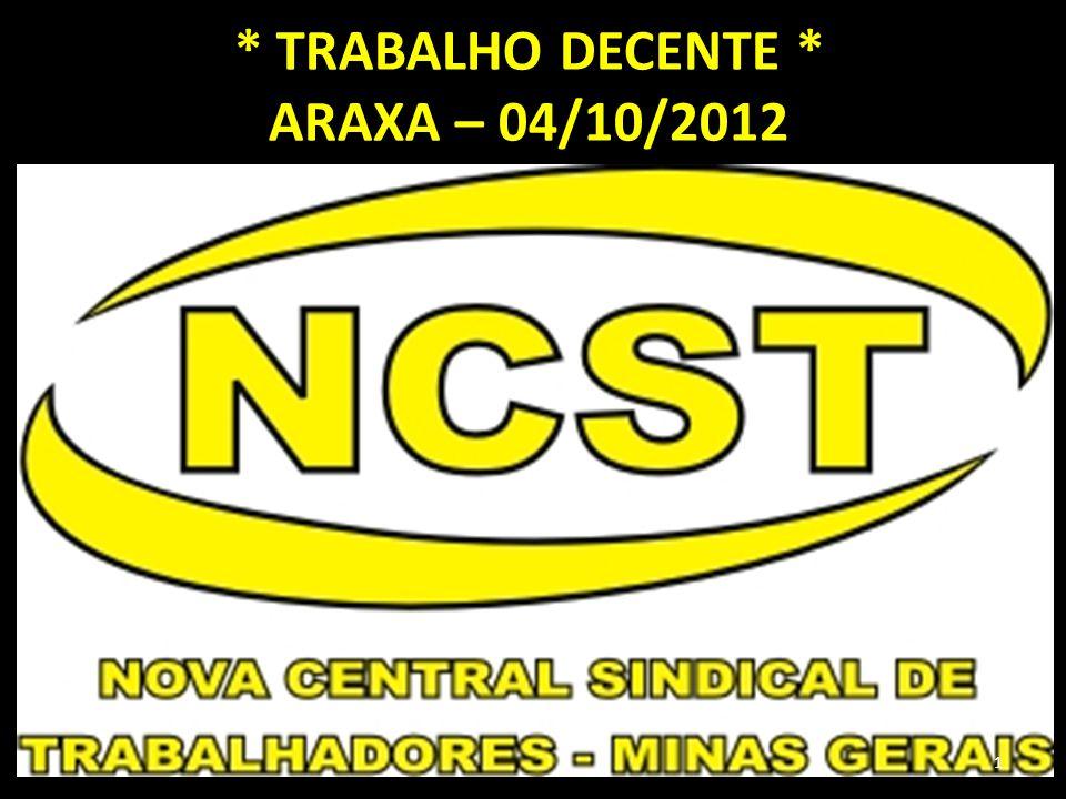 * TRABALHO DECENTE * ARAXA – 04/10/2012 1