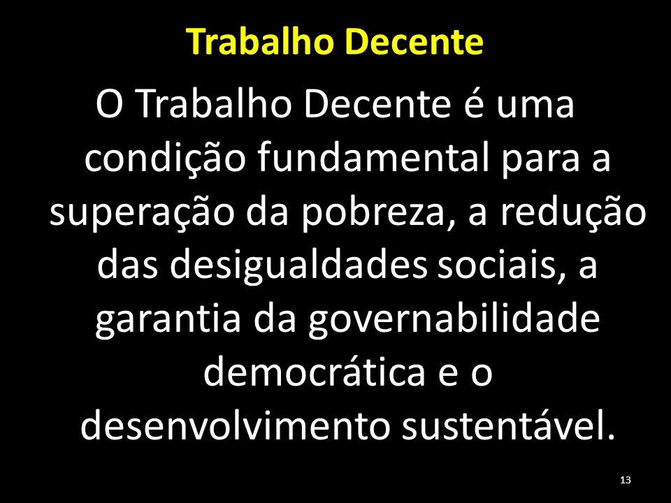 Trabalho Decente O Trabalho Decente é uma condição fundamental para a superação da pobreza, a redução das desigualdades sociais, a garantia da governabilidade democrática e o desenvolvimento sustentável.